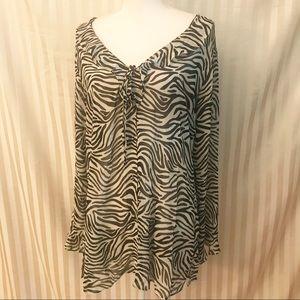 Victoria Secret sheer animal print blouse